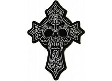 "(A15) SKULL and CROSS 3.3"" x 4.5"" iron on patch (5030) Biker Vest Cap patch"