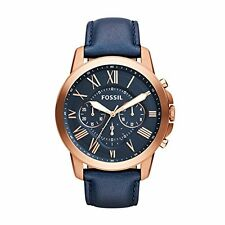 Fossil Men's FS4835 Grant Chronograph Rose Gold-Tone and Blue Leather Watch