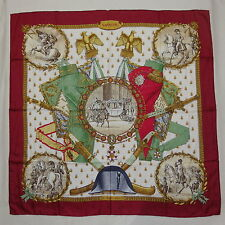 """Auth HERMES """"Napoleon"""" by Philippe Ledoux Red Silk Scarf D321"""