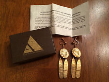 Vintage Gold Pre-Columbian Walking Sun Screwback Dangle Earrings - Alva Museum