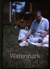 1960s Kodachrome photo slide Man with young boy  Ranch pull wagon