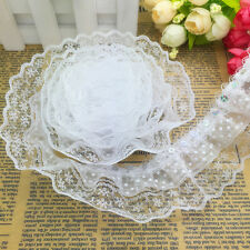 5 Yards 3-layer 45mm Dot Organza Pleated Trim Lace Sewing Sequin Trim White #013