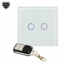 2 GANG 1 WAY TOUCH LIGHT SWITCH WHITE GLASS & REMOTE CONTROL