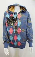 NWT Christian Audigier Ed Hardy Men's Chain Crest Hoodie Jacket Blue 3X-LARGE