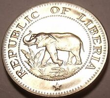 Rare Proof Liberia 1970 5 Cents~Elephant~Ship~Bird~Palm Tree~3,464 Minted~Fr/Shi