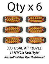 6 - Amber 12 LED Sealed Side Marker Clearance Light Fish Shape Truck Trailer 12V