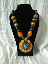 FASHION BOHO BOHEMIAN HIPPY ETHNIC TRIBAL GYPSY WOOD BEAD PENDANT NECKLACE