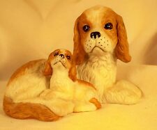Dog Figurine-CAVALIER KING CHARLES SPANIEL-Mom/Pup-Red/White-Porcelain-ADORABLE!