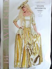 BE WICKED! Gold Antoinette 18th Century Top Skirt & Hat Costume S/M HALLOWEEN!