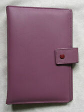 NEW LEATHER DUSKY RASPBERRY PINK STANDARD PERSONAL FILE ORGANISER 25mm DIAMETER