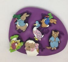 Beatrix Potter Silicone Mould ( Topper. Girls.cupcake.peter Rabbit.duck.nursery
