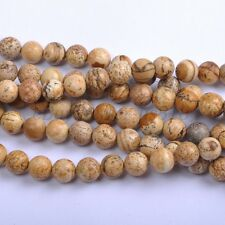 5Pcs Natural Picture Stone Gemstone Round Spacer Loose Beads 12MM #15