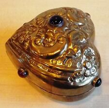 Heart Shape Art Nouveau French Style Brass Trinket Box with Cabochons