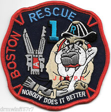 "Boston Rescue-1  blue, MA  ""Bulldog""  (4"" x 4"" size) fire patch"