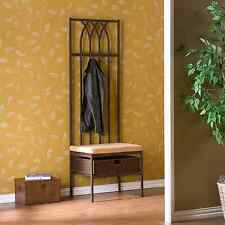 Brown Entryway Hall Tree Coat Rack Stand Home Furniture Storage Bench Chair Hat