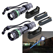 2PC Tactical Adjustable 4000LM CREE XM-L LED Flashlight Torch+Charger+AAA Holder