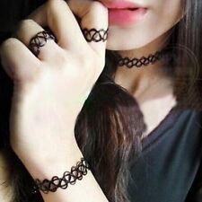 1Set Retro Stretch Tattoo Choker Necklace Bracelet Ring Black Elastic Boho