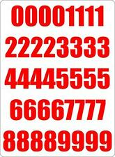 Number sheet sticker vinyl decal car bike door wheelie bin red race
