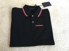 PRADA MEN'S BLACK NERO COTTON SIGNATURE STRIPE POLO SHIRT XL