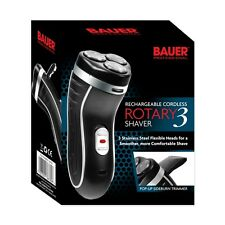 Bauer Rotary 3 Smooth Action Cordless Rechargeable Electric Mens Shaver Razor