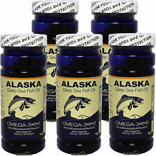5 x Alaska Deep Sea Fish Oil Omega-3,6,9, EPA/DHA Flaxseed Oil, FRESH, FREE SHIP