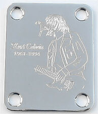 GUITAR NECK PLATE Custom Engraved Etched Fit Fender - KURT COBAIN Nirvana CHROME