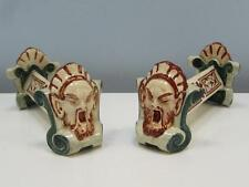 Pair of Antique 19thC French Faience Knife Rests by Longwy - Henry II Pattern