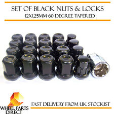 Black Wheel Nuts & Locks (16+4) 12x1.25 Bolts for Nissan Navara [Mk2] 04-15