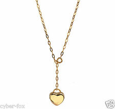 "18"" Yellow Gold Stainless Steel Women's Love Heart Pendant Necklace Jewelry gift"