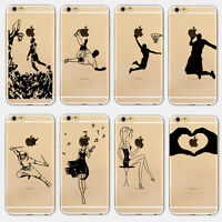 For iPhone 5C 5S SE 6S Plus Ultra Thin Clear Hard Cover Girl Patterned Case