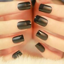 24ps Black Elegant Matte Short French Fake Nails faux ongle Natural Nail Art Tip