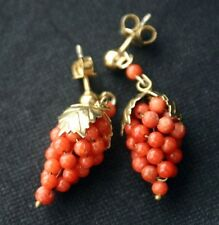800 Silver Coral Bead Grape Cluster Earrings Italy