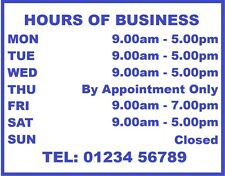 Opening - Closing Times Sticker For Shops Pubs Clubs You Choose Hours and Colour
