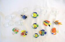 Ganz Floating Glass Fish & Diver Aquarium 3D Figurines Set of 10