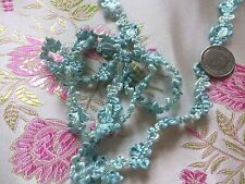 Vintage Braid Silk Ribbon Trim Dolls Bonnet Dolls Aqua Blue Doll Hats 29""
