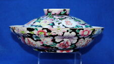 19THC ANTIQUE CHINESE FAMILLE ROSE LARGE PORCELAIN BOWL & COVER DECORATED FLORAL