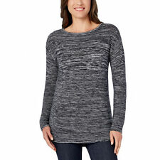 NEW Ellen Tracy Ladies' Marled Pullover Sweater Black & Ivory S