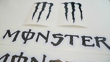 MONSTER BLACK carbon effect decals stickers motorcycle motorbike wheel rim  4 X