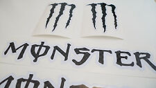 MONSTER black carbon effect decals stickers motorcycle motorbike wheel rim 4pcs