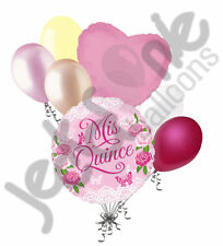 7pc Mis Quince Pink Flowers Happy Birthday Balloon Bouquet Party Decoration 15th