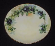 H & Co Bavaria Hand Painted Plate Blueberries