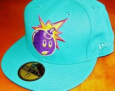 The Hundreds-Adam Bomb 59 Fifty Fitted Hat-7 3/4-Teal Blue/Orange/Purple-RARE