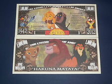 BEAUTIFUL  UNC. NOVELTY NOTE OF DISNEY'S LION KING FREE NOTE OFFER!