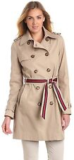 NEW Tommy Hilfiger Double-Breasted Khaki Trench Coat Striped Belt Size XL