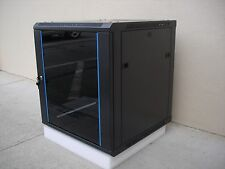 "12U Wall Mount Network Server Cabinet w/Glass Door,Lock&Key,Fan,Rail -23.5"" D"