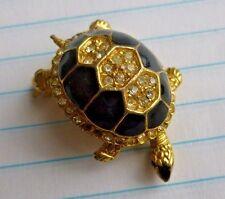 Vintage Jewelry Brooch Pin Rhinestone Encrusted Enamel Turtle  2