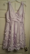 Calvin Klein sz 10 lilac purple taffeta party dress short 3D floral appliques