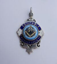 Antique HMS Silver & Enamel Freemason Pocket Watch Chain Fob Turner & Simpson