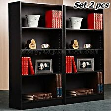 Bookcase Bookshelf Set Of 2 Pcs 4 Shelf Black Wood Furniture Adjustable  Shelves