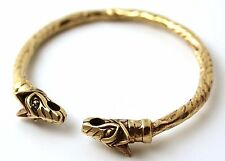 Bronze Norse Viking Mjolnir Wolf Head Twisted Rope Carve Bangle Cuff Bracelet